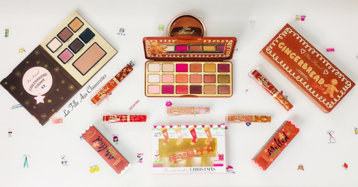 TOO FACED – GINGERBREAD SPICE PALETTE & THE SWEET OF CHRISTMAS COFFRET ROUGE A LEVRES MELDED MATTE GINGERBREAD MAN & GINGERBREAD GIRL COLLECTION COMPLÈTE REVUE ET SWATCHES